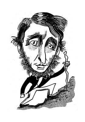 Henry David Thoreau Drawing - Henry David Thoreau by Tom Bachtell