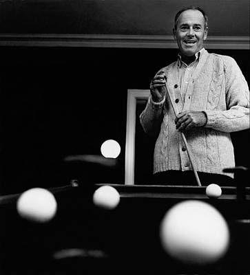 Cue Ball Photograph - Henry Fonda By A Pool Table by Chadwick Hall
