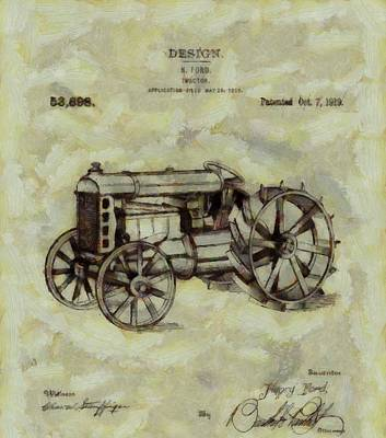Barn Digital Art - Henry Ford Tractor Patent by Dan Sproul