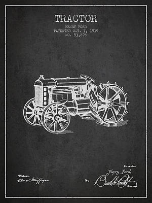 Farming Digital Art - Henry Ford Tractor Patent  From 1919 - Dark by Aged Pixel