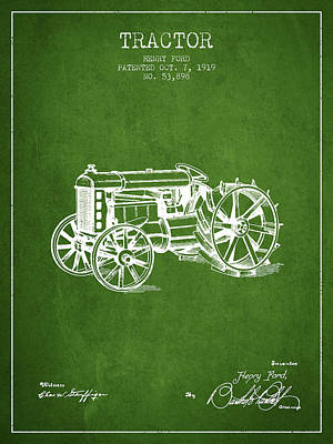 Farming Digital Art - Henry Ford Tractor Patent  From 1919 - Green by Aged Pixel