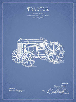 Farming Digital Art - Henry Ford Tractor Patent  From 1919 - Light Blue by Aged Pixel