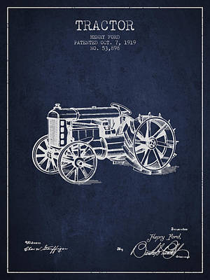 Farming Digital Art - Henry Ford Tractor Patent  From 1919 - Navy Blue by Aged Pixel