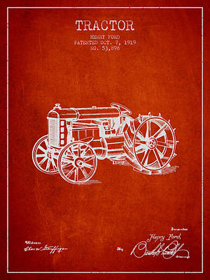 Farming Digital Art - Henry Ford Tractor Patent  From 1919 - Red by Aged Pixel