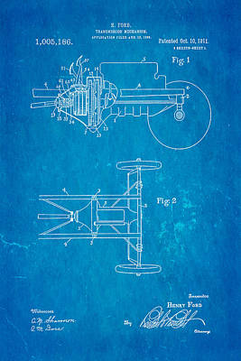 Mechanism Photograph - Henry Ford Transmission Mechanism Patent Art 1911 Blueprint by Ian Monk