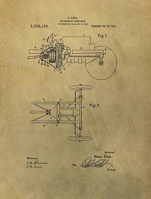 Digital Art - Henry Ford Transmission Patent by Dan Sproul