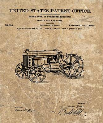 Michigan Drawing - Henry Ford's Tractor Patent by Dan Sproul