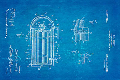 Photograph - Henry Ice Cream Freezer Patent Art 1912 Blueprint by Ian Monk