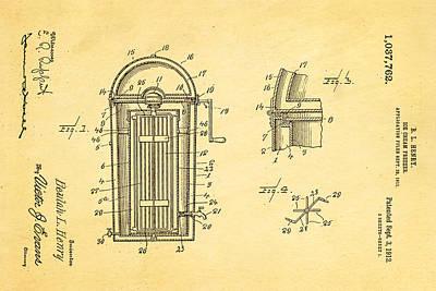 Photograph - Henry Ice Cream Freezer Patent Art 1912 by Ian Monk