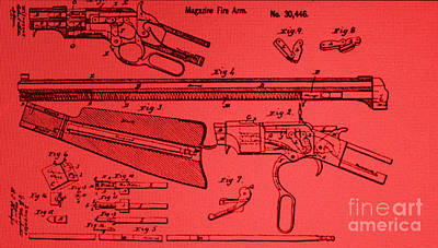 Photograph - Henry Rifle Patent Drawing by Steven Parker