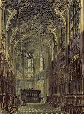 Stained Drawing - Henry The Seventh Chapel, Plate 8 by Frederick Mackenzie