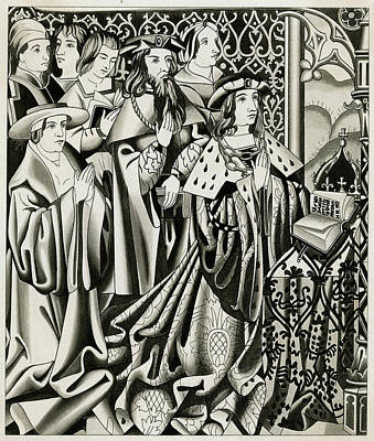 Henry Vi And His Court At  Prayer Art Print by Mary Evans Picture Library