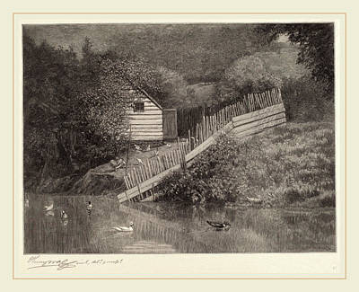 Wood Duck Drawing - Henry Wolf, A Duck Pond, American, 1852-1916 by Litz Collection