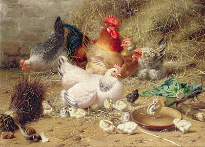 Farmyard Painting - Hens Roosting With Their Chickens by Eugene Remy Maes