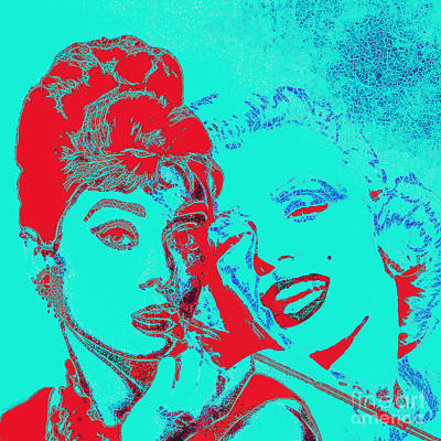 Wingsdomain Digital Art - Hepburn And Monroe 20130331v2p128 Square by Wingsdomain Art and Photography