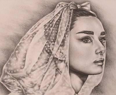 Audrey Hepburn Drawing - Hepburn The Bride by Lisa Marie Szkolnik