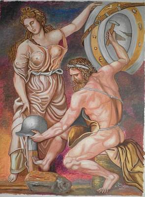 Hephaestus Wall Art - Painting - Hephaestus And Thetis Make The Weapons Of Achilles by Konstantinos Baklatzis