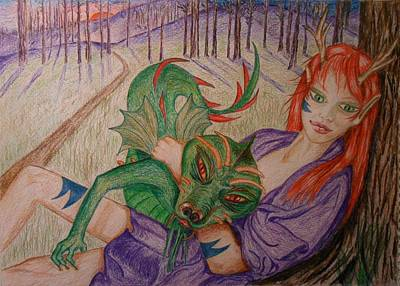 Drawing - Her Dragon by Carrie Viscome Skinner