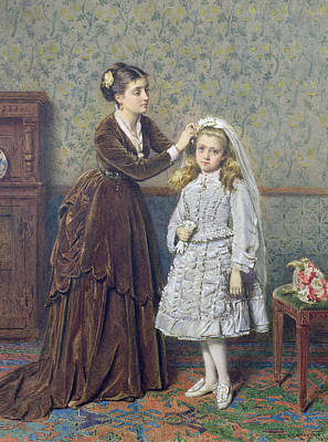 Fixing Painting - Her First Communion by George Goodwin Kilburne