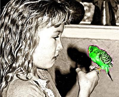 Parakeet Digital Art - Her First Parakeet by Carrie OBrien Sibley