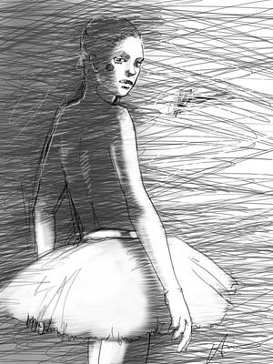 Theater Drawing - Her by H James Hoff