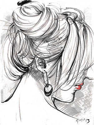 Drawing - Her Hair by Miguel Karlo Dominado