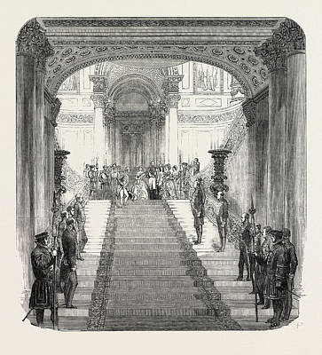 Buckingham Palace Drawing - Her Majesty Descending The Grand Staircase At Buckingham by English School