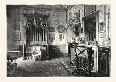 Buckingham Palace Drawing - Her Majestys Bedroom At Buckingham Palace by English School