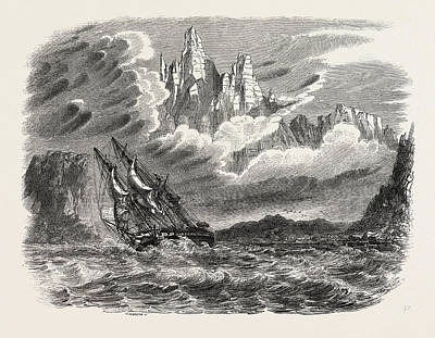 Antique Vessel Drawing - Her Majestys Ship Meander In A Squall by English School