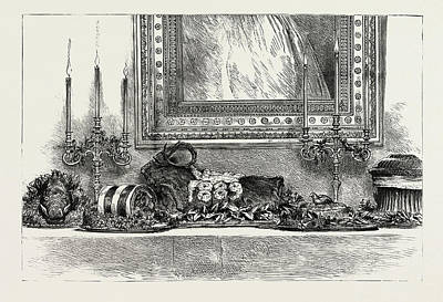 Woodcock Wall Art - Drawing - Her Majestys The Queens Sideboard At Christmas 1889 by Litz Collection
