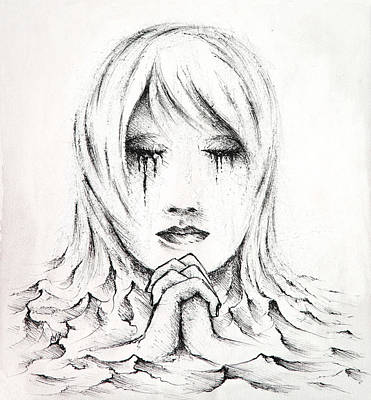 Tear Drawing - Her Prayers by Rachel Christine Nowicki