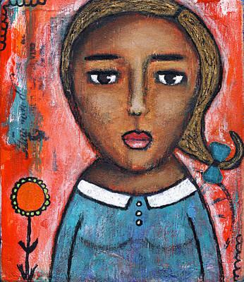 Folk Painting - Her Pretty Blue Dress by Rischa Heape