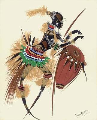 African Traditional Dances Painting - Her Rhythm And Blues by Oglafa Ebitari Perrin