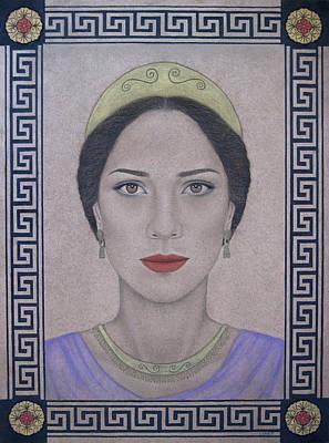 Gold Earrings Drawing - Hera by Lynet McDonald