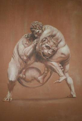 Heracles And The Lion Art Print by Paez  Antonio