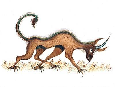 Heraldic Fantasy Creature Art Print by Ion vincent DAnu