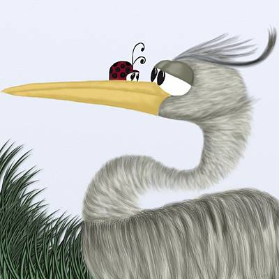 Digital Art - Herb The Heron And His Visitor by Michelle Brenmark