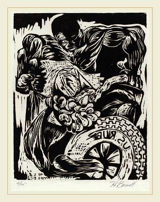 Linocut Drawing - Herbert Bennett, Untitled Frustration, American by Litz Collection