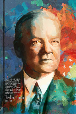 Politicians Paintings - Herbert Hoover by Corporate Art Task Force