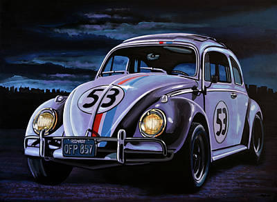 Character Portraits Painting - Herbie The Love Bug Painting by Paul Meijering