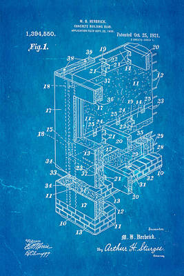 Herbrick Concrete Building Slab Patent Art 1921 Blueprint Print by Ian Monk