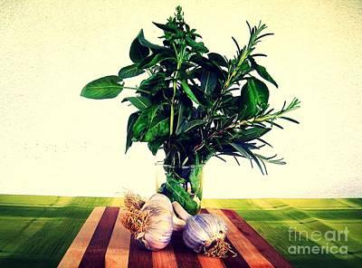 Photograph - Herbs And Garlic by Nina Ficur Feenan