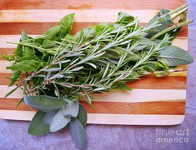 Photograph - Herbs On Cutting Board by Nina Ficur Feenan