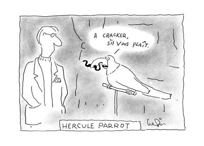 Book Title Drawing - Hercule Parrot by Arnie Levin