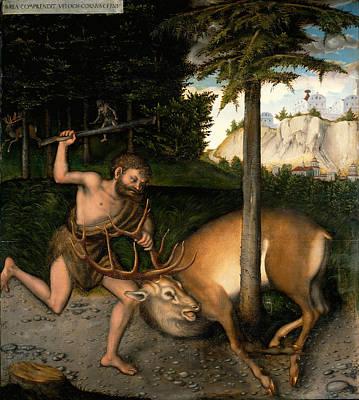 Painting - Hercules And The Arcadian Deer by Workshop of Lucas Cranach the Elder