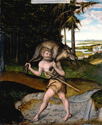 Painting - Hercules And The Erimanthian Boar by Workshop of Lucas Cranach the Elder