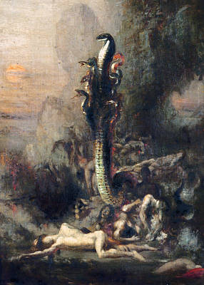 Serpent Photograph - Hercules And The Lernaean Hydra, After Gustave Moreau, C.1876 Oil On Canvas Detail Of 226576 by Narcisse Berchere