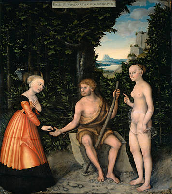 Painting - Hercules At The Crossroads by Lucas Cranach the Elder