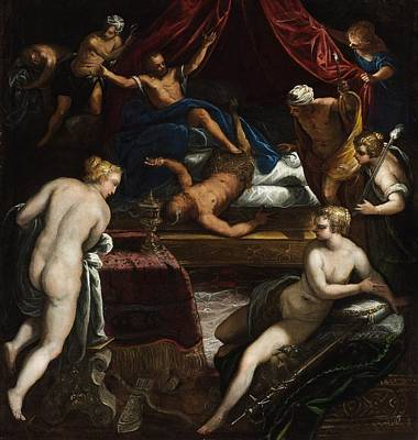 Faun Painting - Hercules Expelling The Faun From Omphale's Bed by Tintoretto