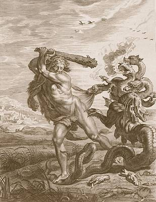 Lobster Drawing - Hercules Fights The Lernian Hydra by Bernard Picart